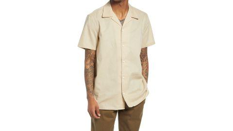 Treasure & Bond Short-Sleeve Linen & Cotton Button-Up Camp Shirt