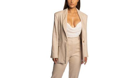 JLuxLabel Parker Oversize Cotton & Linen Blazer