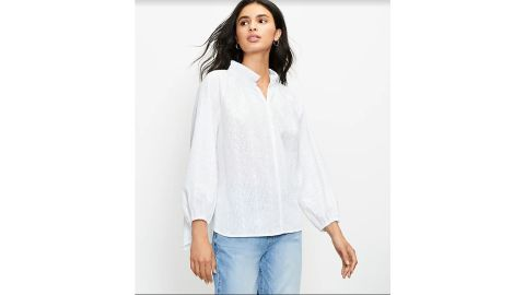 Embroidered Pleated Collar Blouse