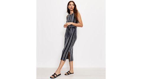 Eyelash Tie-Waist Midi Dress