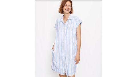 Striped Dolman Pocket Shirtdress