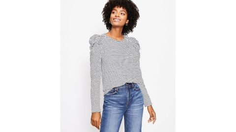 Striped Pleated Puff-Sleeve Top