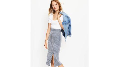 Striped Pull-On Slit Skirt