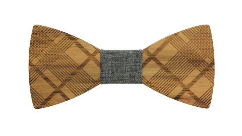 Angie Wood Creations Diagonal Plaid Zebrawood Bow Tie With Grey Denim Centre