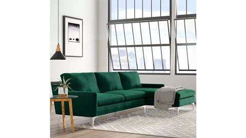 AllModern Jason Velvet Sofa & Chaise Sectional