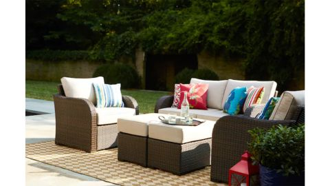 Allen + Roth Northborough 5-Piece Metal Frame Patio Conversation Set With Sunbrella Cushions