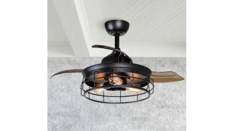 Parrot Uncle 36-Inch Black LED Ceiling Fan