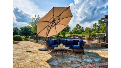 SimplyShade Solar-Powered Crank Cantilever Patio Umbrella With Base