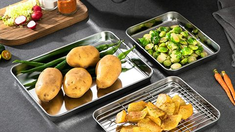 Bastwe Commercial-Grade Stainless Steel Baking Pans, 2-Pack