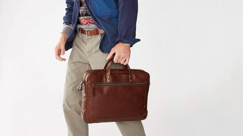 Fossil Men's Haskel Leather Double Zip Briefcase