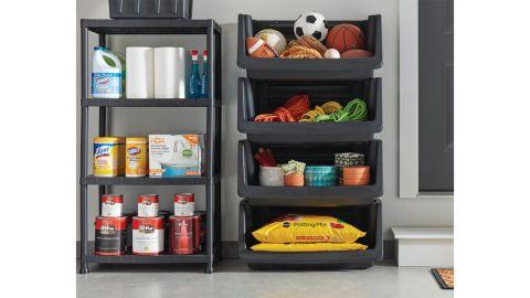 HDX Black 4-Tier Plastic Storage Shelving Unit