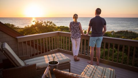Get a beautiful view of the water during sunset at the Ocean Edge Resort & Golf Club on Cape Cod.