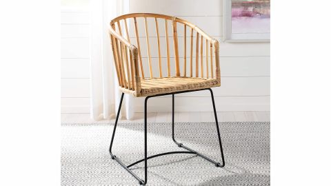 Safavieh Home Siena Natural Rattan and Black Barrel Dining Chair