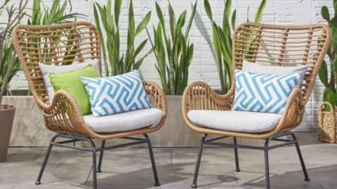 GDFStudio Crystal Outdoor Wicker Club Chairs With Cushions