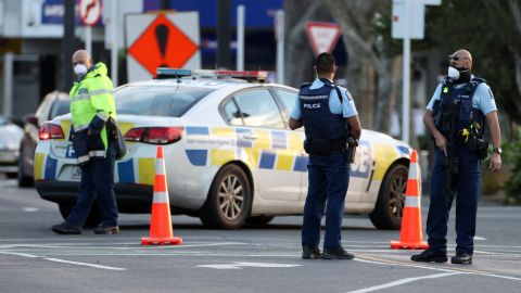 Police guard the area around Countdown LynnMall where a violent extremist reportedly stabbed six people before being shot by police on September 03, 2021 in Auckland, New Zealand. A man has been shot dead by police after reportedly stabbing six people at LynnMall supermarket in Auckland. Prime Minster Jacinda Ardern has addressed the country describing the attack as violent and senseless.