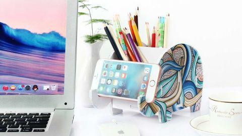 Coolbros Elephant Pencil Holder With Phone Holder Desk Organizer