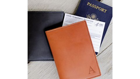 EricScottLeathers Leather Monogram Vaccination Passport Holder