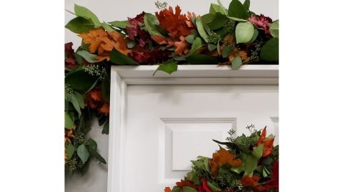Dried Fall Leaves and Salal Garland