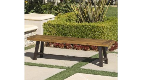 Christopher Knight Home Catriona Outdoor Acacia Wood Bench with Metal Accents