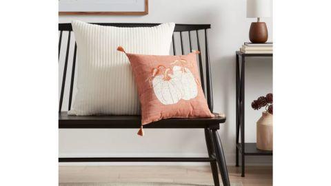Embroidered Pumpkins Square Throw Pillow Orange