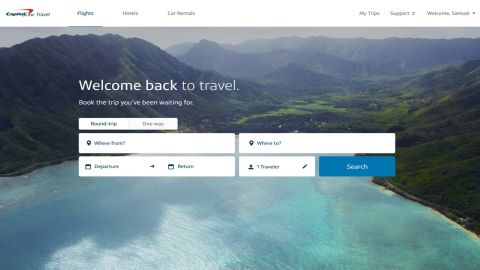 The new Capital One Travel booking platform.