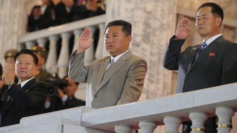 North Korea leader Kim Jong Un (C) attends a paramilitary parade held to mark the 73rd founding anniversary of the republic at Kim Il Sung square in Pyongyang in this undated image supplied by North Korea's Korean Central News Agency on September 9, 2021.    KCNA via REUTERS    ATTENTION EDITORS - THIS IMAGE WAS PROVIDED BY A THIRD PARTY. REUTERS IS UNABLE TO INDEPENDENTLY VERIFY THIS IMAGE. NO THIRD PARTY SALES. SOUTH KOREA OUT. NO COMMERCIAL OR EDITORIAL SALES IN SOUTH KOREA.