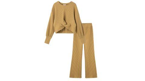 Habitual Kids Waffle Knit Twist Front Top & Pants Set
