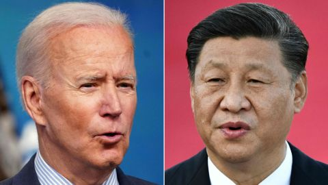 (COMBO) This combination of file pictures created on June 08, 2021, shows US President Joe Biden (L) speaking at the Eisenhower Executive Office Building in Washington, DC on June 2, 2021; and Chinese President Xi Jinping speaking on arrival at Macau's international airport on December 18, 2019. - The US Senate was poised to pass a huge industrial policy bill on June 8, 2021, aimed at countering a surging economic threat from rival China, overcoming partisan divisions to pump more than $170 billion into research and development. The bill would need to return to the House of Representatives for a final vote, but it is expected to win final passage and be signed into law by President Joe Biden. (Photos by MANDEL NGAN and Anthony WALLACE / AFP) (Photo by MANDEL NGAN,ANTHONY WALLACE/AFP via Getty Images)