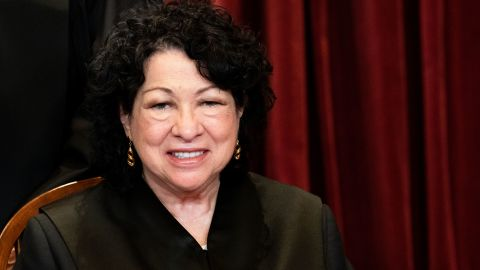 WASHINGTON, DC - APRIL 23: Associate Justice Sonia Sotomayor sits during a group photo of the Justices at the Supreme Court in Washington, DC on April 23, 2021. (Photo by Erin Schaff/Pool/Getty Images)