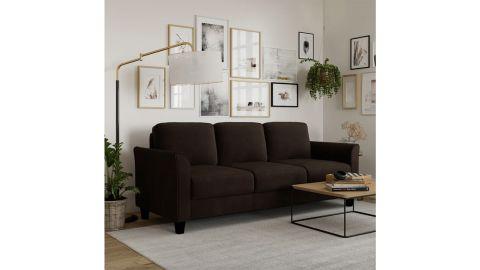 Celestia Microfiber Microsuede Flared Arm Sofa
