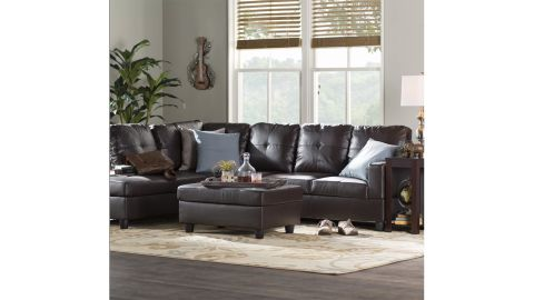 Englehardt Faux Leather Sectional Sofa & Chaise with Ottoman