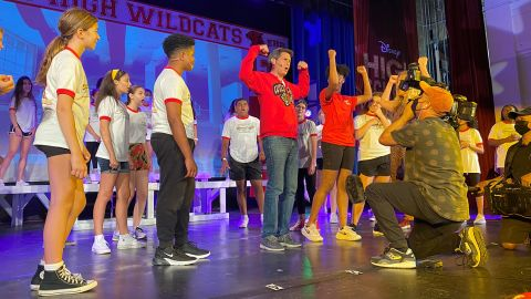 John Berman on stage with the Riverdale Children's Theatre.