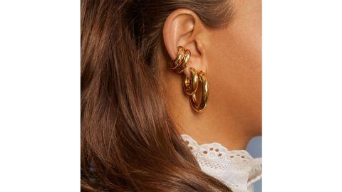 BaubleBar Dalilah Medium Silver Hoop Earrings
