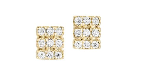 Dana Rebecca Designs Alexa Jordyn Triple Row Diamond Stud Earrings
