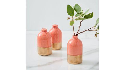 Honeycomb Studio Coral & Gold Bud Vase