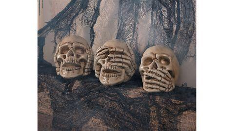 No Evil Skulls Halloween Decoration, Set of 3