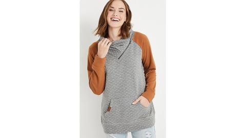 Gold Polka Dot Asymmetric Cowl Neck Sweatshirt