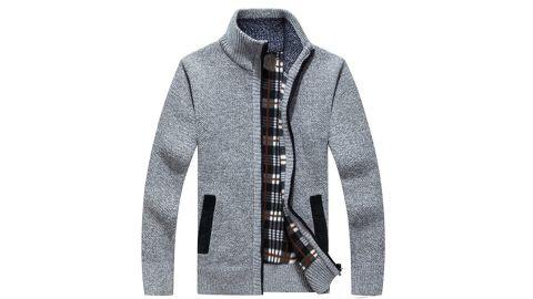 LemonGirl Mens Casual Slim Full Zip Knitted Cardigan Sweater