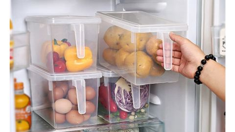 Mindeaker Stackable Plastic Storage Container, 4-Pack