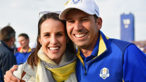 PARIS, FRANCE - SEPTEMBER 30: Sergio Garcia of Europe and wife Angela Garcia pose for a photo during singles matches of the 2018 Ryder Cup at Le Golf National on September 30, 2018 in Paris, France.  (Photo by Stuart Franklin/Getty Images)