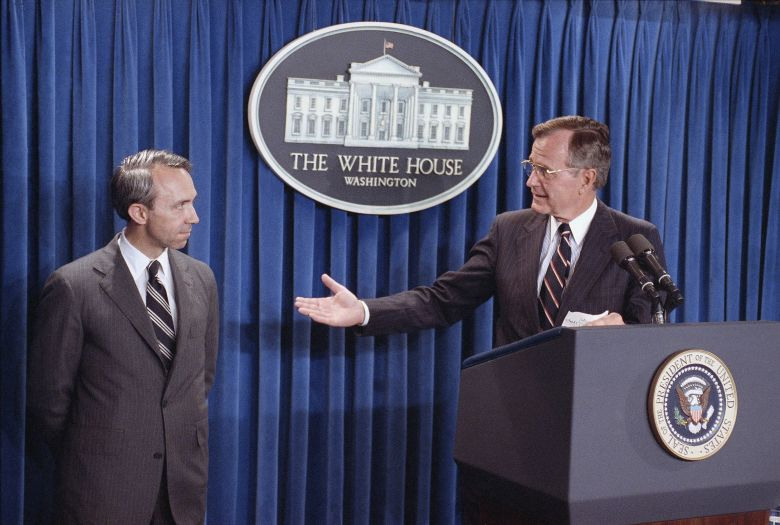 Pres. George H. W. Bush, right, speaks to reporters at the White House as he announces his nomination of appellate Judge David Souter, left, to a seat on the Supreme Court, Monday, July 23, 1990, Washington, D.C. If confirmed by the Senate, the 50-year-old jurist from New Hampshire would succeed William J. Brennan. (AP Photo/Greg Gibson)
