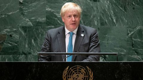 British Prime Minister Boris Johnson addresses the 76th session UN General Assembly on September 22, 2021, in New York. (Photo by EDUARDO MUNOZ / various sources / AFP) (Photo by EDUARDO MUNOZ/AFP via Getty Images)