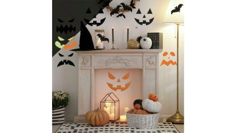 Halloween Pumpkin Faces Glow-in-the-Dark Peel-and-Stick Decals
