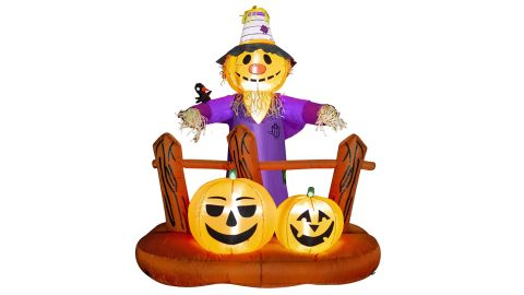 Hoojo 6-Foot Halloween Inflatable Scarecrow With Pumpkins and Built-In LEDs