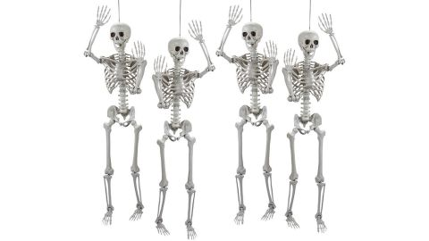 Life-Size Posable Skeleton Halloween Decorations, 4-Piece