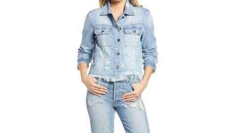 Hidden Jeans Frayed Hem Denim Jacket