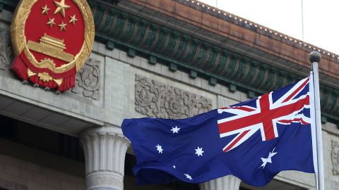 BEIJING, CHINA - APRIL 09:  A general view of a Australian flag is seen during a welcome ceremony for Australia's Prime Minister Julia Gillard outside the Great Hall of the People on April 9, 2013 in Beijing, China. At the invitation of Chinese Premier Li Keqiang, Australian Prime Minister Julia Gillard will pay an official visit to China after the Boao Forum for Asia Annual Conference 2013.  (Photo by Feng Li/Getty Images)
