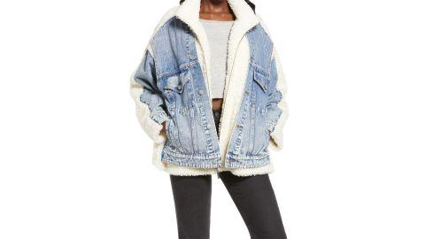 Sanctuary Women's Minka Faux Fur Denim Jacket