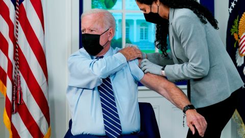 President Joe Biden receives a COVID-19 booster shot during an event in the South Court Auditorium on the White House campus, Monday, Sept. 27, 2021, in Washington.