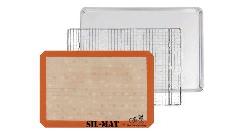 The French Pantry 3-Piece Sheet Pan, Silicone Baking Mat and Cooling Pan Set.
